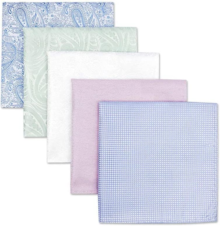 TWDYC 5 Pieces Colorful Assorted Mens Pocket Square Silk Classic Handkerchief Set Gift Colorful (Color : A, Size : 32x32CM)