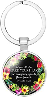 Bible Verse Scripture Inspirational Keychain, Key tagsChristian Inscription Faith Gifts Car Keyring(Silver Color) (2 Proverbs 4:23)