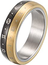 INRENG Men's Stainless Steel 6mm Roman Numerals Spinner Lucky Ring Constellations Wedding Band
