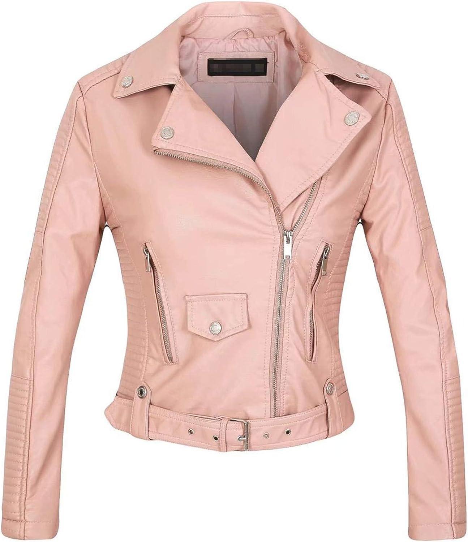 Yiqinyuan Faux Leather PU Jacket Women Spring Autumn Fashion Motorcycle Jacket Black Leather Coats Outerwear Coat Pink M
