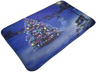 Árbol de Navidad cubierto de nieve con luces Alfombrilla de entrada Alfombrilla de entrada Interior al aire libre Garaje P...