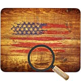 Retro USA Flag on Vintage Wood Texture Background Mouse pad mat