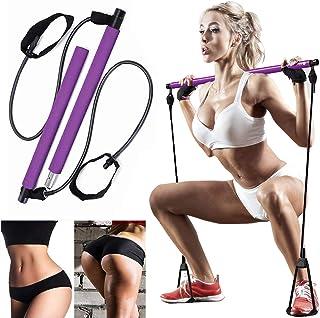 AOAUUKO Pilates Bar Kit with Resistance Band, Portable Pilates Exercise Stick Yoga Exercise Bar with Foot Loop Body Workou...