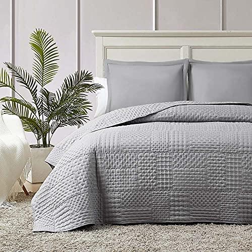 Hansleep Colcha 250x280 cm Manta Colcha Gris Colcha de Microfibra para Dormitorio Manta Acolchada Super Suave y Cómoda Adecuado para la Cama-Galletas
