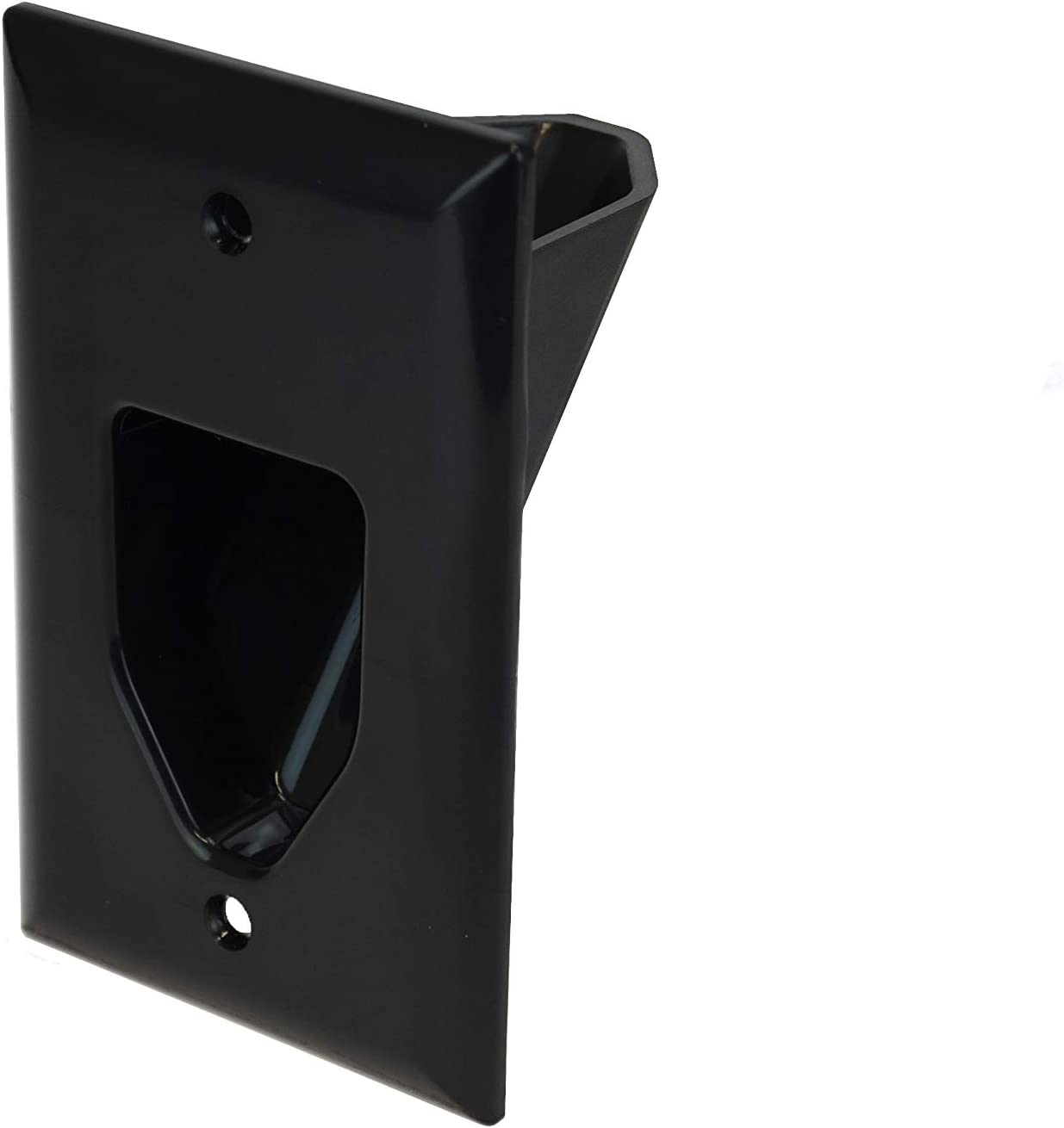 DATA COMM Electronics 45-0001-BK 1-Gang Recessed Low Voltage Cable Plate - Black