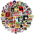Band Stickers[50pcs] Rock Roll Punk Hip Hop Music Nirvana Beatles Rolling Stones Queen Guns and Roses Eagles Decals for Electronic Organ Guitar Drum Water Bottle Computer Car Helmet Bike Bumper