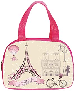 Polychromatic Optional Small Handbag Pink,Kiss,Floral Paris Symbols Landmarks Eiffel Tower Hot Air Balloon Bicycle Romantic Couple Decorative,Ivory Pink,for Girls,Print Design.6.3