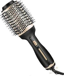 SutMsh secador de pelo cepillo-secador de pelo y moldeador 3 en 1 plancha de pelo y rizador peine de aire caliente cepillo de salón incorporado secador de pelo de cerámica de iones negativos dorado