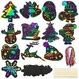 BETESSIN 48pcs Papel de Rascar de Navidad Papel Scratch Art Manualidades Creativas Dibujar de Rascar con Lápices de Madera Cuerda Colores para Niños Infatiles Decoración Fiesta Navidad