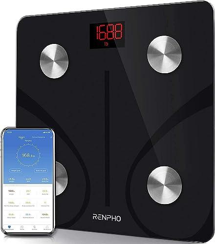 RENPHO Balance Pese Personne, Balance Connectée Bluetooth Pèse Personne Impédancemètre, Balance Impedancemetre avec 1...