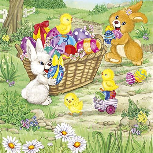 20 Servietten Hasen und Küken sammeln Eier | Ostereier | Ostern | 33x33cm