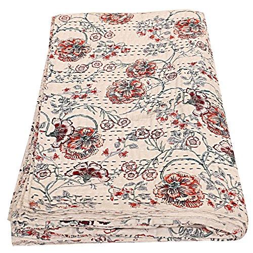 Exclusiva colcha india reina Gudri hecha a mano Vintage Tropican Kantha manta de algodón tamaño 90 x 108, colcha bohemia, colcha bohemia Kantha, colcha bohemia, colcha bohemia, ropa de cama bohemia,