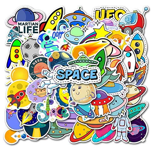 LANYU Cartoon Celestial Body Outer Space Cute Electric Body Stickers Balance Car Scooter Locomotive Graffiti Helmet Stickers 50pcs