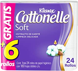 Kleenex Cottonelle Soft, Papel Higiénico, Bonus De 18 Rollos + 6 Gratis, 180 Hojas Dobles