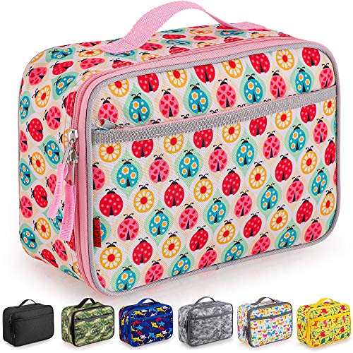 Zulay Insulated Lunch Bag - Thermal Kids Lunch Bag With Spacious Compartment & Built-In Handle - Portable Back To School Lunch Bag For Kids, Boys, & Girls To Keep Food Fresh (Ladybugs)
