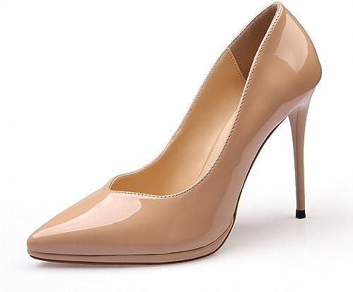 CXY Western Pointu Chaussures en Cuir Verni Plate-Forme Imperméable à l'eau avec des Talons Hauts Bouche Peu Profonde Ensembles de Chaussures Simples Femelle Noir,Abricot,34