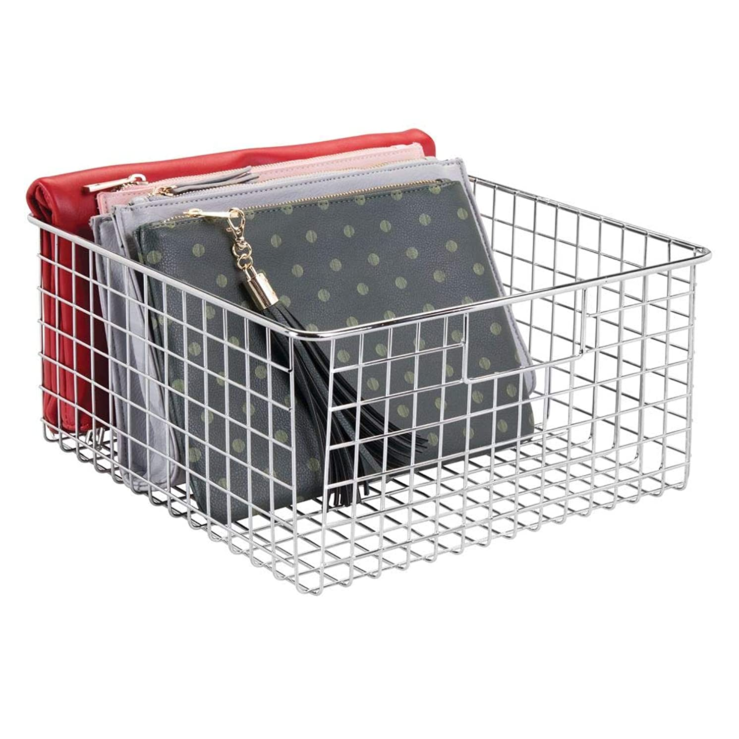 mDesign Large Farmhouse Decor Metal Wire Storage Basket Bin with Handles for Storage & Organizing Closets, Shelves and Cabinets in Bedrooms, Bathrooms, Entryways and Hallways - 6