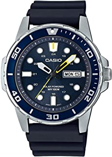 Casio Men`s Stainless Steel Quartz Resin Strap, Black, 22 Casual Watch (Model: MTP-S110-2AVCF)