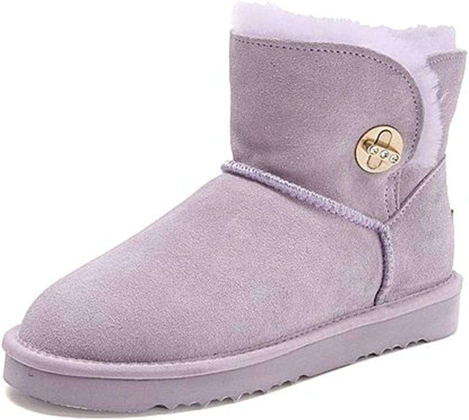 Booties shoes Autumn Winter Women's Snow Boots Outdoor Hiking shoes Casual shoes Waterproof snow boots Non-Slip shoes shoes (color   Purple, Size   38)