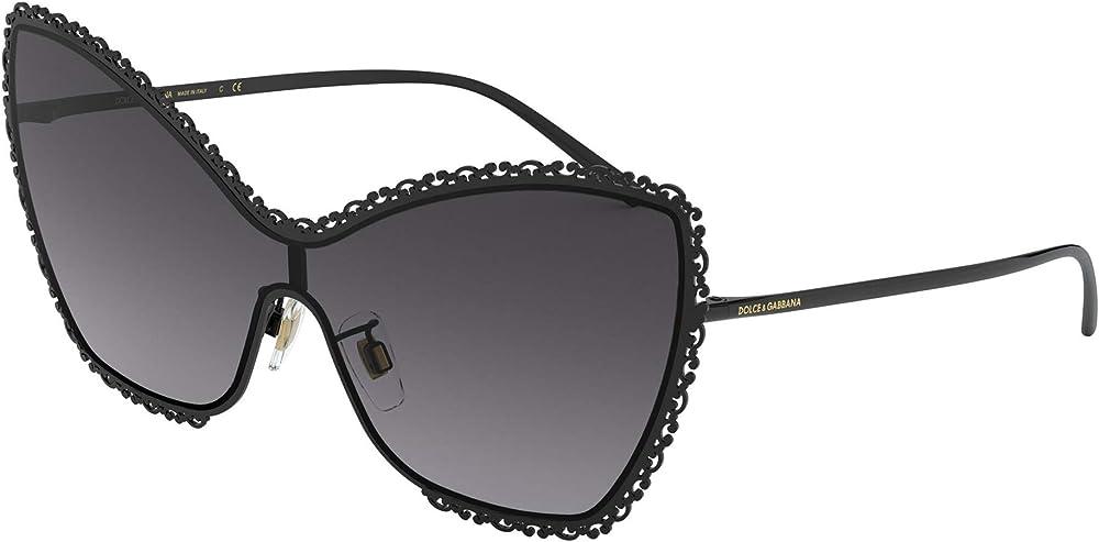 Dolce & gabbana occhiali per donna da sole, in metallo nero e lenti grigie DG2240
