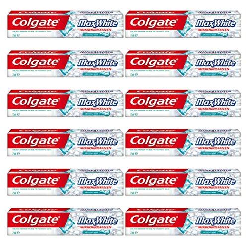 12 x COLGATE Dentifricio Max White Al Fluoro 75 Ml