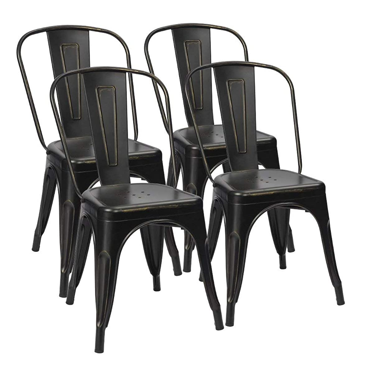 Furmax Metal Chairs Distressed Style Black Indoor/Outdoor Use Stackable Chic Dining Bistro Cafe Side Chairs Set of 4 (Distressed Black)
