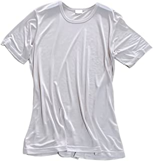 LSHARON Mens 100% Mulberry Silk Knit Round Neck Short Sleeves T-Shirts