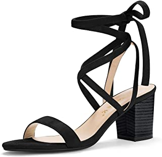 Women's Open Toe Mid Chunky Heel Lace Up Sandals