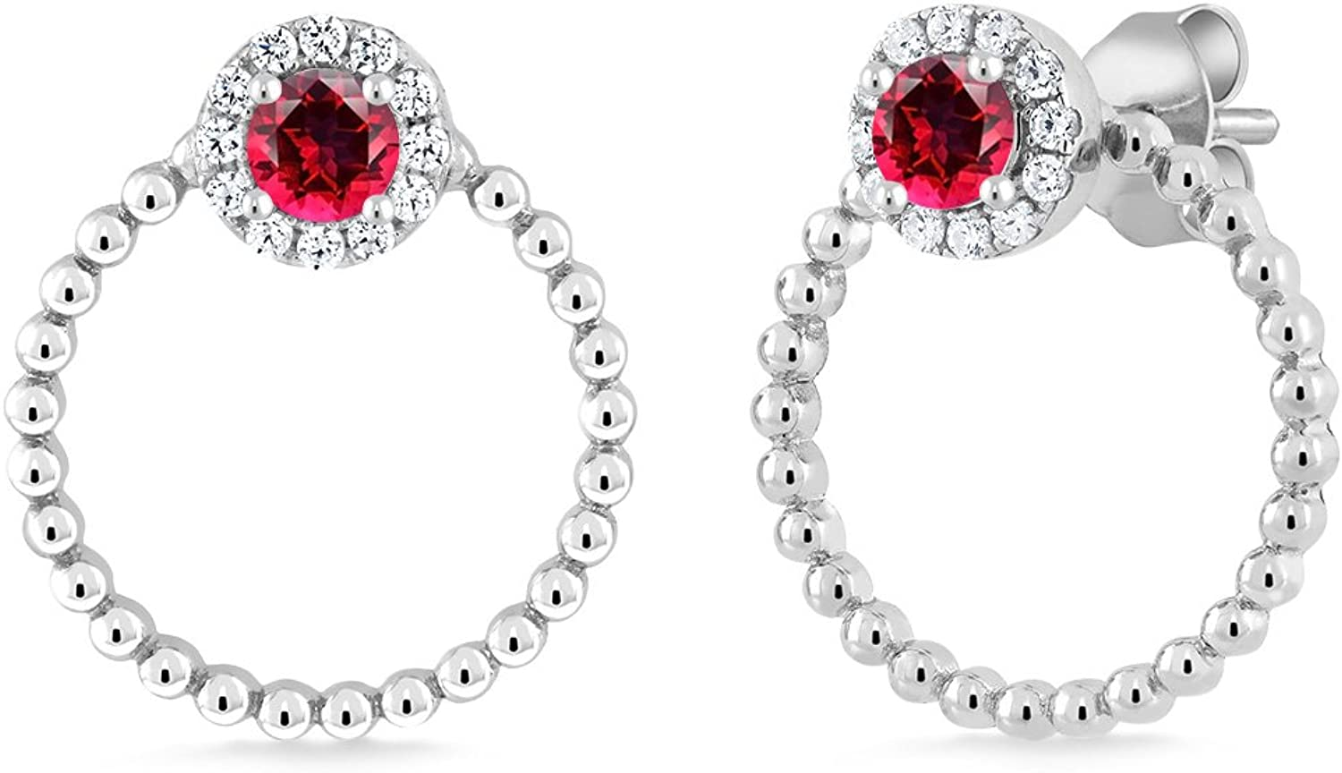 0.84 Ct Blazing Red 925 Sterling Silver Double Circle Earrings Natural Topaz Cut by Swarovski
