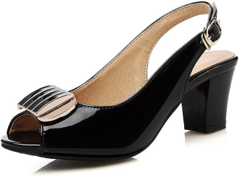 WeenFashion Women's Patent Leather Buckle Peep Toe Kitten-Heels Solid Sandals