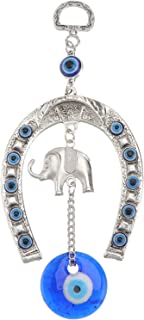 IMIKEYA Turkish Blue Evil Eye Blessing Ornaments Lucky Elephant Car Charm Horseshoe Metal Hanging Pendant Decorations for ...
