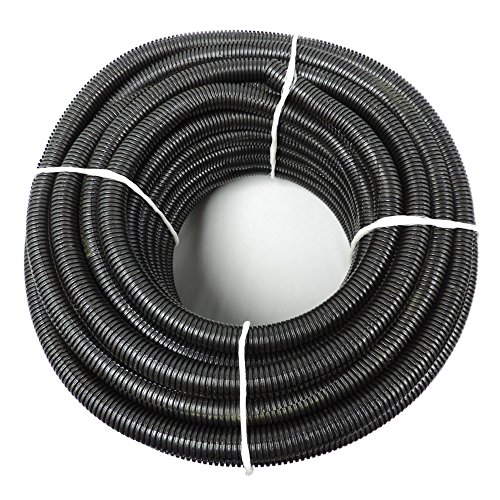 "(3/4"" Dia. x 100 ft, Black) HydroMaxx Flexible Polyethylene Corrugated (PE) Split Tubing (Wire Loom)"