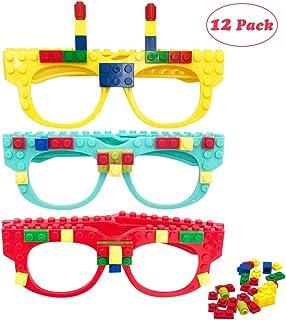 Hxezoc 12 Pcs DIY Building Bricks Glasses Building Blocks Games for Kids Creative Building Block Birthday Party Favors, Ca...