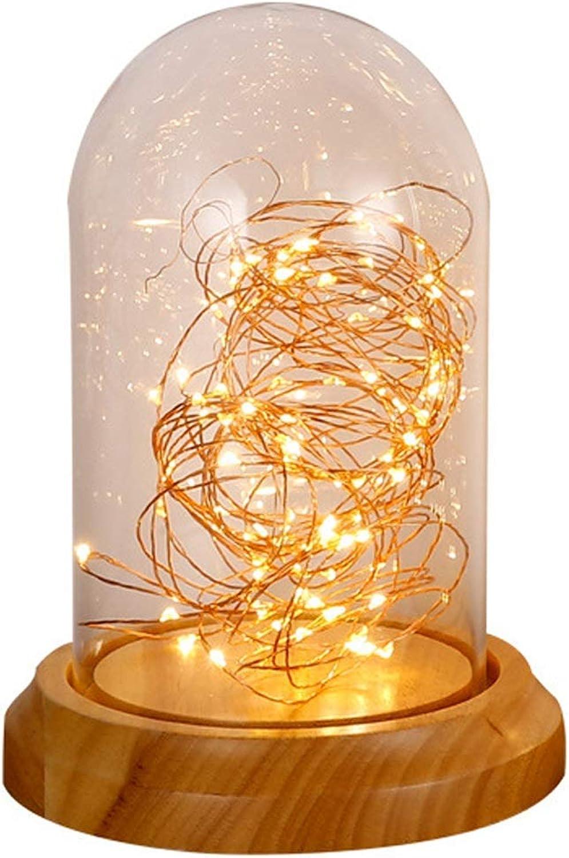 BDYJY LED Tischlampe, Nachttischlampe Moderne Massivholz Glas Tischlampe Nordic Kinderzimmer Schlafzimmer Dekoration Tischlampe Nachtlicht (gre  S)