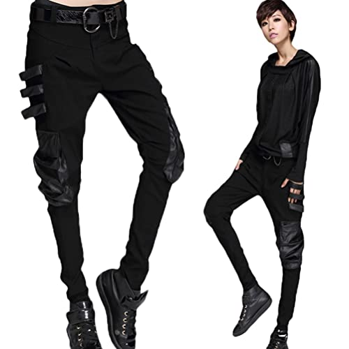 41bd77dff9 Minibee Women's Harem Patchwork Leather Pocket Punk Style Personalized  Pants Black