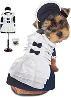 Puppe Love Frilly French Maid Uniform Costume with Bonnet Hat and Bags Set - Navy/White - for Dogs - Sizes XS Thru L