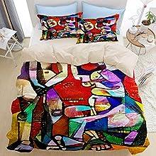 Juego de ropa de cama de 3 piezas, reproducciones alternativas de cuadros famosos de Picasso, juego de funda nórdica con cremallera de lujo moderno con 2 fundas de almohada Juego de funda de edredón d