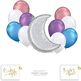Andaz Press Pastel Iridescent Moon and Stars Party Balloon Bouquet Set, Unicorn Holographic Party Supplies, Inflatable Foil and Latex Balloons, Bulk Balloon Kits for Birthday Party Decoration Ideas