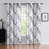 Fmfunctex Black White Sheer Curtains for Living-Room 96' Long Tree Branch Window Draperies for Bedroom Modern Print Semi-Sheer Curtain Panels 2 Panels, Grommet Top