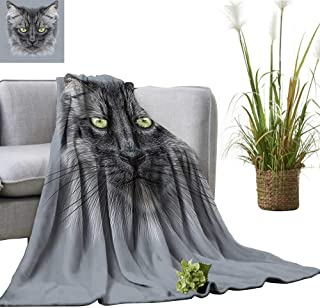 Soft Blanket Microfiber Black Dom tic Cat Face and Yellow Ey Whiskers Pet Grey Black Yellow Easy Travel 50