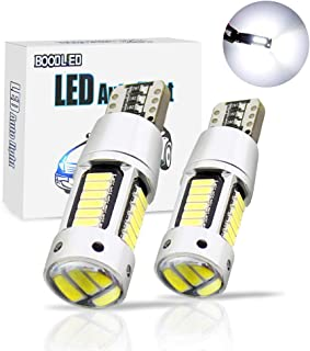 Boodled Newest 9~30V 194 LED Xenon White Bulbs 460Lumens 2.3watts Super Bright No-Polarity LED Bulb For T10 168 W5W Width Warning Turn Signal Dome Map Plate Sied marker Lights. (2-Pack).