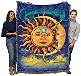 Sun Moon - Vincent HIE - Cotton Woven Blanket Throw - Made in The USA (72x54)