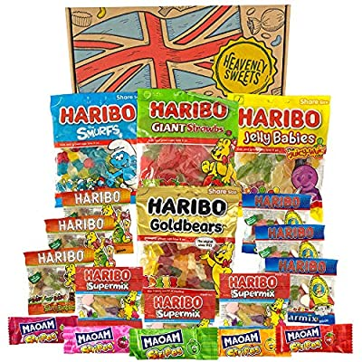 heavenly sweets haribo box hamper selection - mixed gummy bears, chewy sweets, classic jelly candy - mini bags and treat gifts for birthday, christmas, halloween, easter - retro packages, 28x19x4 cm Haribo Mix Selection Party Pack – Supermix, Jelly Babies, Bears, Giant Strawberries… 100% Natural Flavours & Colours… 61CRdy83fWL