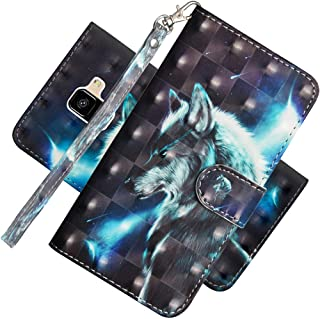 EMAXELER Samsung Galaxy A8 Case Cover 3D Full Colour Embossing Protect Stylish Wallet Kickstand Credit Cards Slot Pockets PU Leather Flip for Samsung Galaxy A8 2018 YX 3D: Wolf