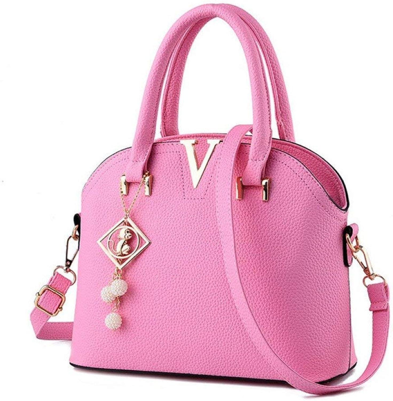 Ladies Handbag Women's Bag PU Leather Female Handbag Shoulder Bag Shell Wild (color   Pink, Size   One Size)