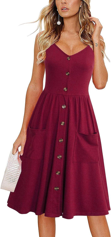 Lyrur Summer Dresses for Women Flattering Beach Spaghetti Strap Button Down Midi Aline Sundresses with Pockets