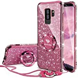 OCYCLONE Fundas para Samsung Galaxy S9 Plus,Purpurina Brillante Fundas Galaxy S9 Plus para Mujer con Glitter Diamante Anillo,Ultrafina Soft Funda Protector Samsung Galaxy S9 Plus,Profundo Púrpura