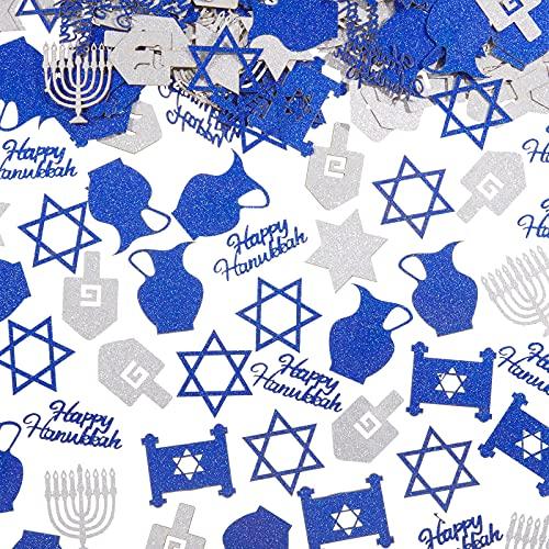 200 Pieces Glitter Hanukkah Holiday Confetti Jewish Confetti Menorah Star Shape Hanukkah Cutouts Blue and Silver Paper Hanukkah Decorations Hanukkah Ornament Christmas Tree Topper Decor, 8 Styles