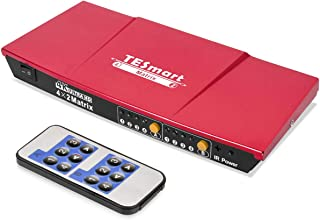 TESmart 4x2 HDMI Matrix 4K@30Hz HDMI Matrix Switcher 4 in 2 Out with L/R Audio Output and Remote Support HDCP1.3 Dolby Audio Format(Red)