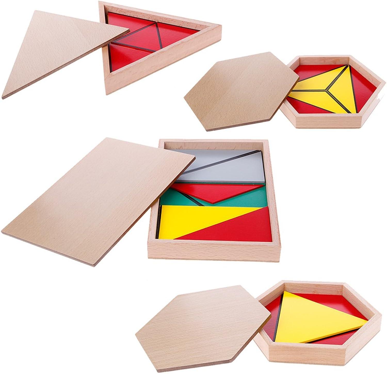 QingqingR Montessori Holzmaterial Spielzeug Konstruktive Dreiecke Rechteckiges Fünfeck